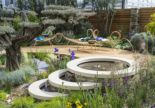 Royal Bank of Canada show garden with Designer Matthew Wilson at Clifton Nurseries,  RHS Cheslea Flower show 2015, London May 2015.